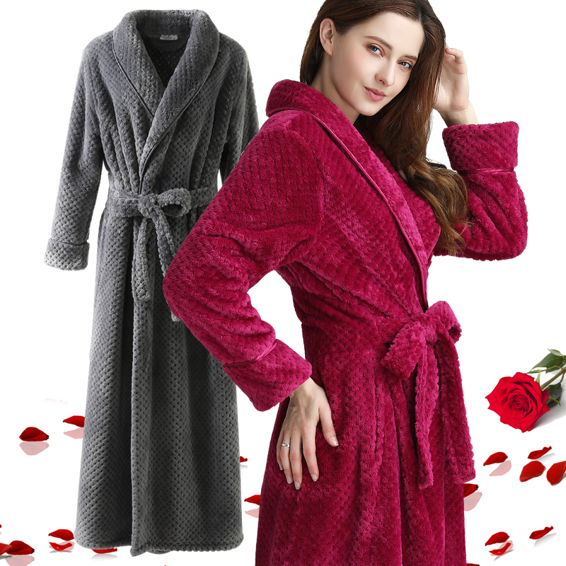 Extra Long Dobby Coral Fleece Bathrobe Women Men Flannel Winter Warm Kimono Bath Robe Femme Lingerie Bridesmaid Dressing Gown