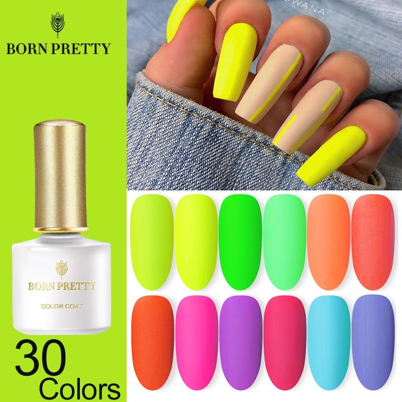 BORN PRETTY Neon Matte Gel Nail Polish Green Yellow Colors 6ml Fluorescent Series Soak Off UV Gel Varnish Nail Art Design Gel