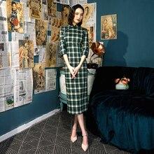 Sheng Coco Literary клетчатое Зеленое Длинное платье Чонсам с длинным рукавом женское классическое современное китайское хлопковое платье Qipao