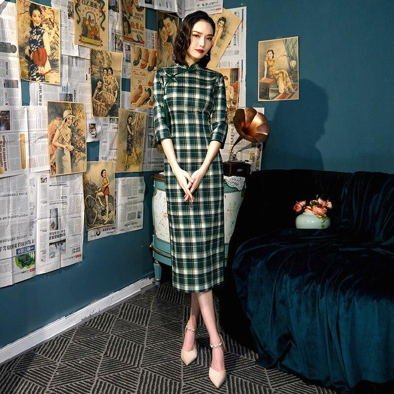 Sheng Coco Literary Plaid Green Long Dresses Half Long Sleeve Cheongsam Dress Female Classic Modern Qipao Cotton Chinese Dress