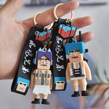 BT21 PUBG game characters eat chicken brothers Keychain Gifts for Men or Boyfriend War Robot Bag Pendant Soldier image