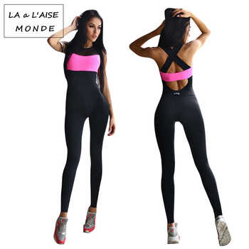 Fitness Sport Suit Women Tracksuit Yoga Set Backless Gym Running Set Sportswear Leggings Tight Jumpsuits Workout Sports Clothing - DISCOUNT ITEM  10% OFF All Category