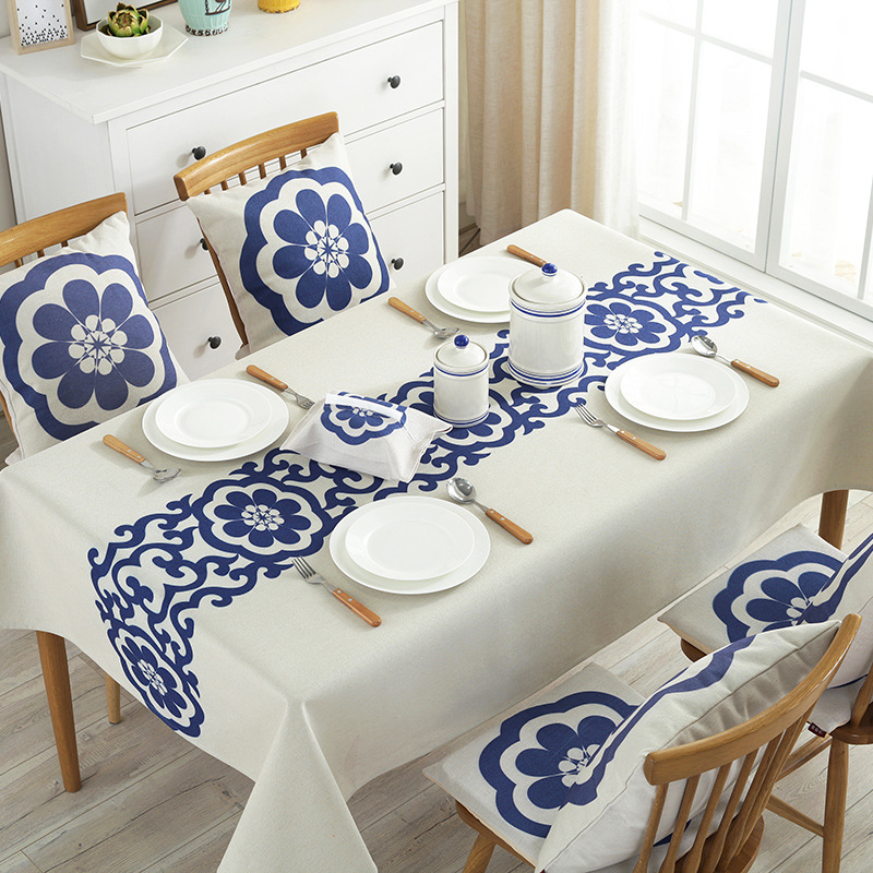 Decorative National Table Cloth Waterproof Blue Flower Cotton Linen Table Cover Rectangular Tablecloth Kitchen Wedding Cover