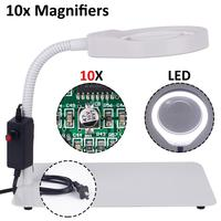 3X 5X 8X 10X Magnifying glass with led lights illuminated magnifier eyewear for soldering repair table lamp