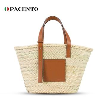 PACENTO 2020 Straw Bag Luxury Designer Bags Women Handbag Summer Beach Bag Rattan Elegant Bucket Tote Famous Brand Handmade