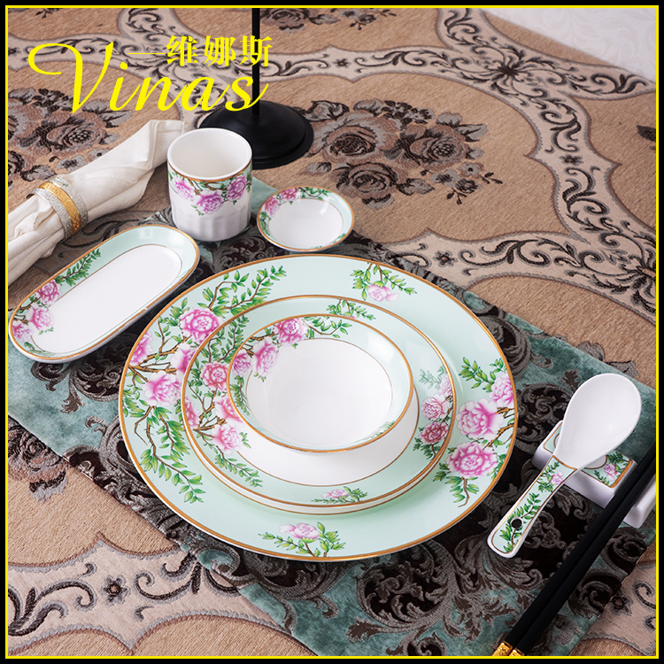Chinese Style Hotel Kitchen Catering Plate Ceramic Dish Bowl Set Table Star Hotel Luxury Hotel Box Bone China Tableware image