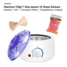 전기 제모 왁스 용융 기계 히터 왁스 콩 10pcs 나무 스티커 제모 세트 왁싱 키트 cera depilatori
