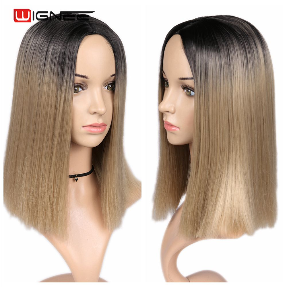 Hb330aafb6bbb4b6bb543a86dc13ccfdfj - Wignee 2 Tone Ombre Brown Ash Blonde Synthetic Wig for Women Middle Part Short Straight Hair High Temperature Cosplay Hair Wigs