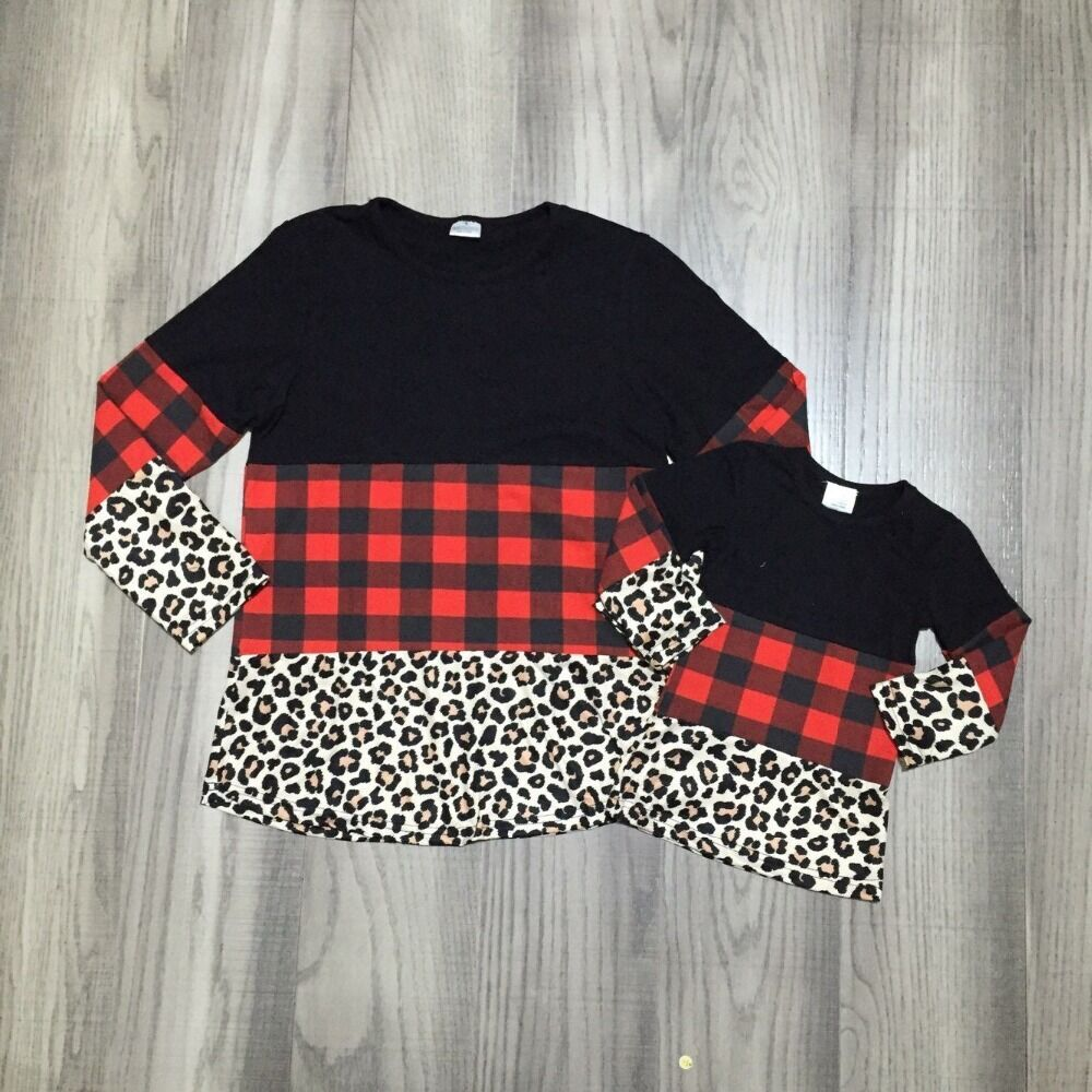 Mom Me Clothes Children Girls Fall/autumn Raglans Leopard Plaid Shirts Mommy And Girls Top Clothes