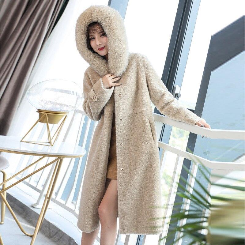 New Women's Winter Wool Coat Female Rea Fox Fur Coats Long Hoody Parka Women Windbreaker Casaco Feminino LX2398