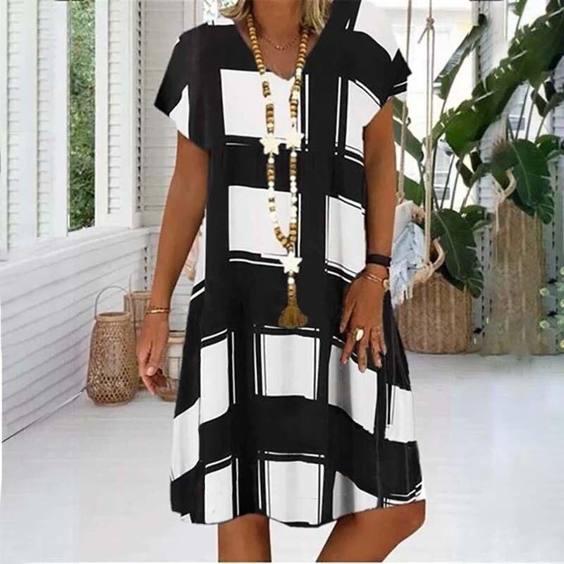 Summer Lattice Print Casual Dress Women's V-neck Short Sleeve Vintage Dresses For Women Plus Size Beach Boho Loose Midi Dress 6