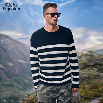 Enjeolon Brand Autumn Winter Sweater Men Black White Striped O neck Casual Knit Pullovers Male Tops Men Clothes Plus Size MY3445