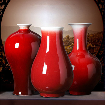 Jingdezhen ceramics red vase large Chinese style home decoration living room flower arrangement crafts ornaments jewelry
