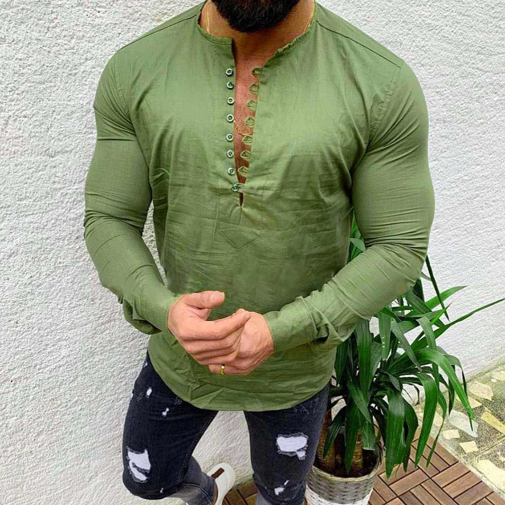 Camisa de manga larga de lino de algodón de Color puro informal Vintage para hombre blusa suelta retro sólido 2019 nuevo estilo slim fit