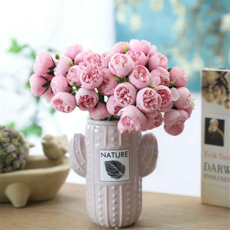 Искусственный букет 27 голова розы Шелковые Цветы Поддельные листья Свадебная вечеринка Декор дома