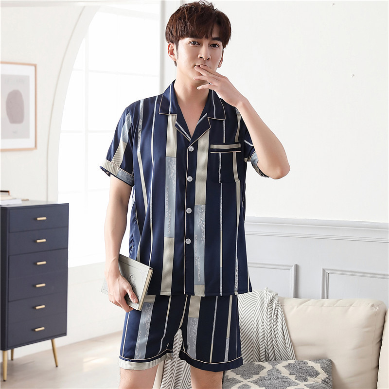 Pajamas Men's Summer Ice Silk Thin Short-sleeved Shorts Summer Simple Simulation Silk Men's Home Service Suit