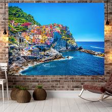 цена на Jayi Spanish Style Multi Pattern Sunset Sea Side Scenery Blue Sky Ocean Background Wall Print Tapestry Wall Hanging Decora  86GT