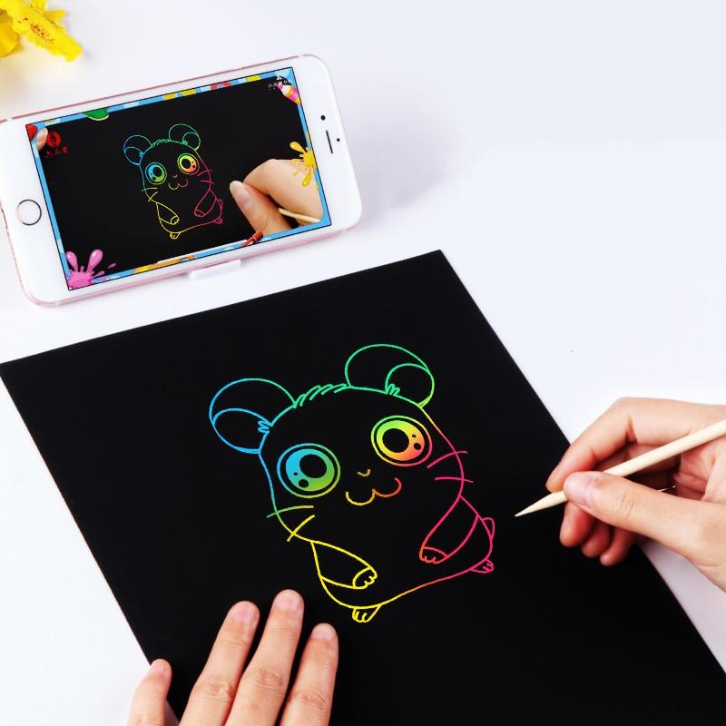 10pc A4 Magic Scraping Paper Kids Creative Graffiti Scratch Painting Paper Crafts Doodle Scratch Art Drawing Toys For Children 2