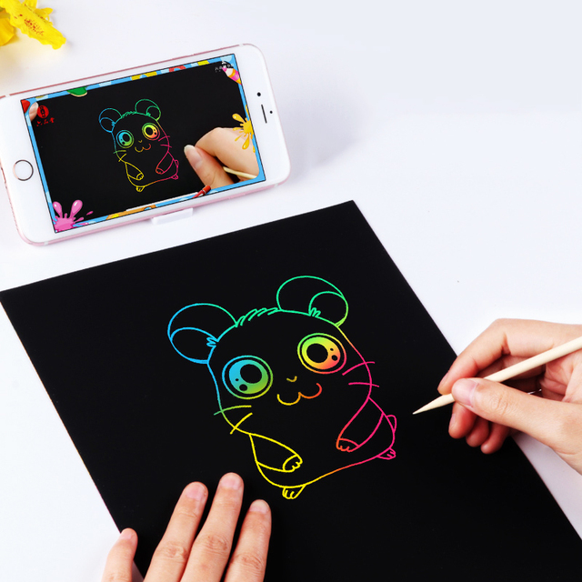 10pc A4 Magic Scraping Paper Kids Creative Graffiti Scratch Painting Paper Crafts Doodle Scratch Art Drawing Toys For Children 2