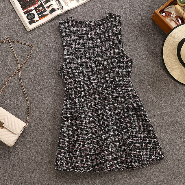 2020 Autumn Winter 2 Piece Set Overalls Dress Women Elegant Ruffles Chiffon Bow Shirt Top+Double Breasted Plaid Tweed Vest Dress 5