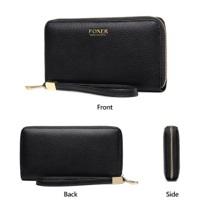 Image 5 - FOXER Women Cow Leather Wallet Female Long Clutch Bags with Wristlet Lady Card Holder Wallets Coin Purse Cellphone Bag 256001F