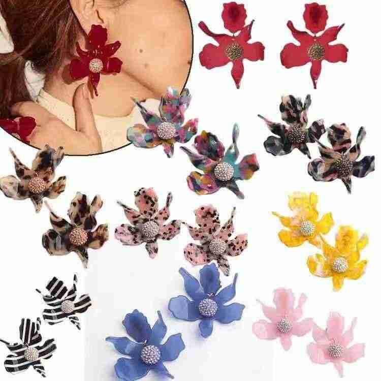 Amybaby Роскошные модные лилии цветок кристалл смолы женские красивые Клипсы Серьги Подвески с эмалью ювелирные изделия для вечерние