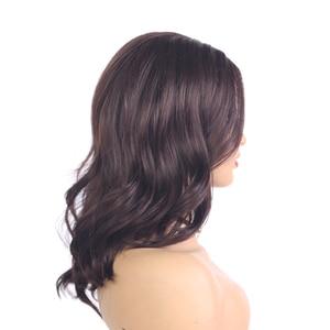 Image 4 - בינוני חום טבעי גל סינטטי תחרה חלק פאות עבור נשים X TRESS כתף אורך Ombre צבע חום עמיד סיבי שיער פאות