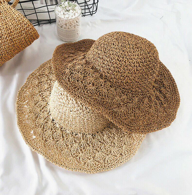 Summer Women Beach Sun Hats Ladies Sun Visor Wide Brim Stripe Floppy Straw Hats New Fashion Caps