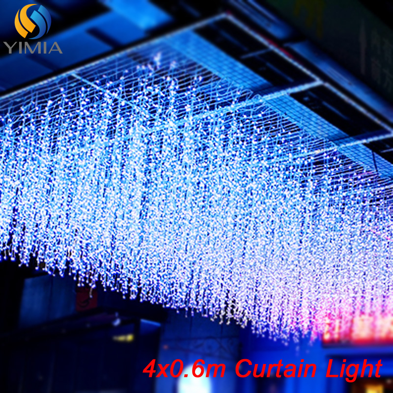 4x0.6m 120 Bulb LED Curtain Icicle String Lights LED Holiday Christmas Garlands Fairy Lights For Outdoor Wedding Home Decoration