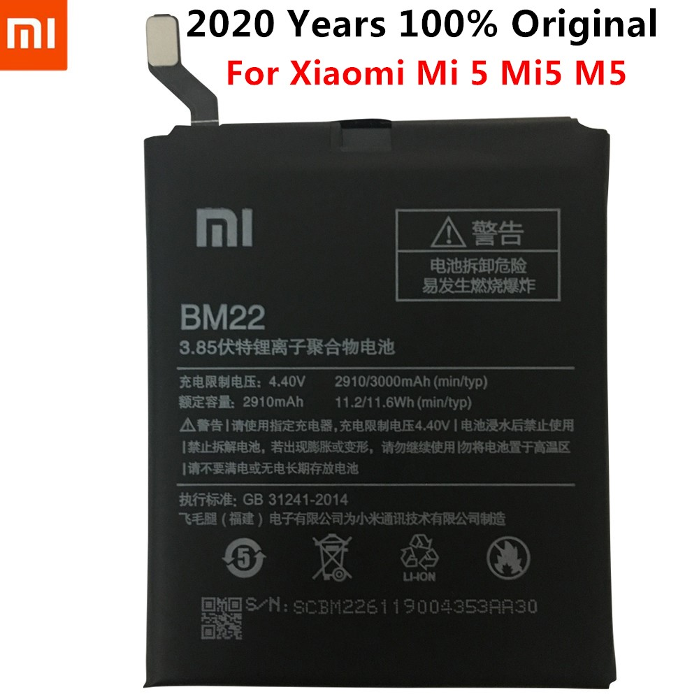 Xiao <font><b>Mi</b></font> Original Phone <font><b>Battery</b></font> BM22 for Xiaomi <font><b>Mi</b></font> <font><b>5</b></font> Mi5 M5 3000mAh High Quality Replacement <font><b>Battery</b></font> Retail Package image