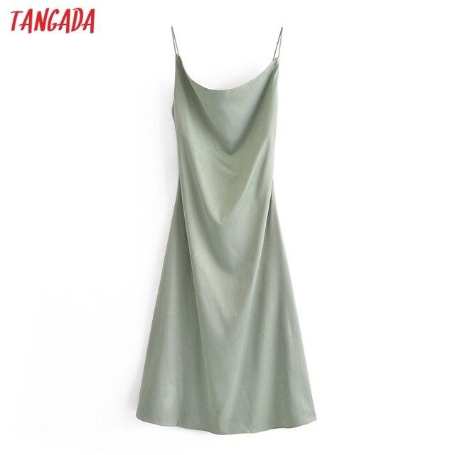 Tangada Women Beige Satin Dress Sleeveless Backless 2021 Fashion Lady Elegant Dresses QN172 3