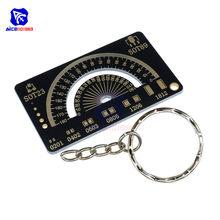 Diymore 4cm multifuncional pcb régua ferramenta de medição resistor capacitor chip ic smd diodo transistor 180 graus com chaveiro