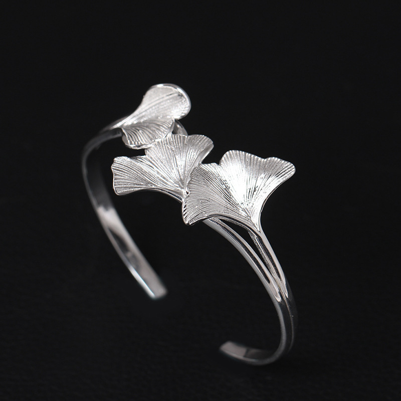 925 Bracelets en argent Sterling de luxe pour femmes Ginkgo feuille plante Bracelets mariage mariées fille bijoux ethniques cadeaux saint valentin