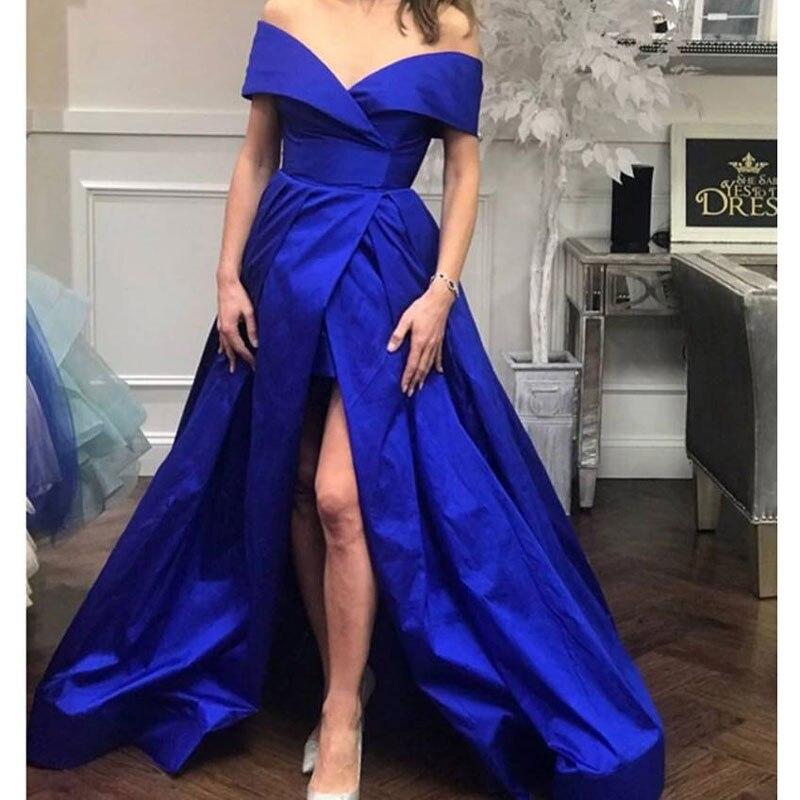 Blue Side Slit Off The Shoulder Prom Party Evening Dresses Vestido De Noiva Sereia Gown Robe De Soiree Simple Satin Lace-up