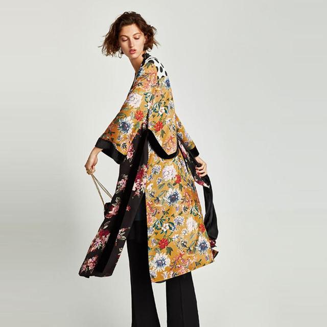 Flower Print Kimono Boho Long Loose Casual Robe with Belt 1