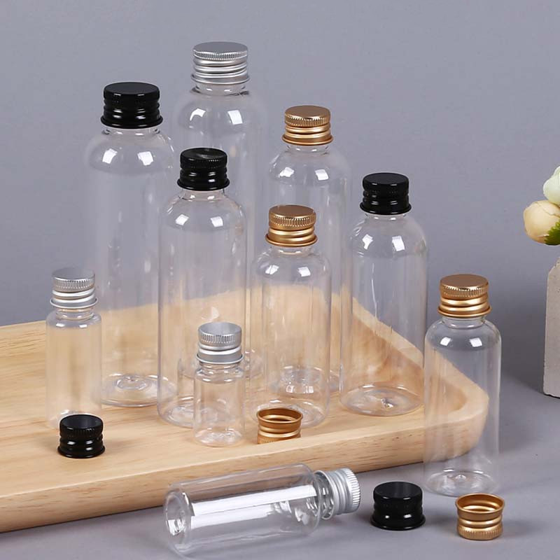 5ml 10ml 20ml 30ml Gold Silver Black Aluminum Cap PET Refillable Bottles Mini Vial Medicine Candy Milk Power Perfume <font><b>Containers</b></font> image