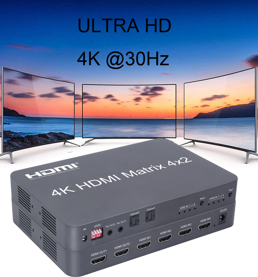 4K HDMI Matrix 4X2 Switch Splitter Video Converter Optical Fiber Audio 4 in 2 out HDTV Monitor Distributor For PS4 XBOX PC to TV