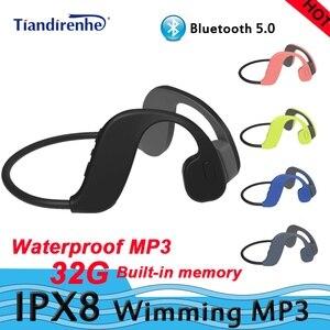 IPX8 wodoodporny MP3 Bluetooth 5.0 z przewodnictwem kostnym wimming zestaw słuchawkowy wbudowana karta pamięci swmming słuchawki odtwarzacz mp3 bluetooth32G