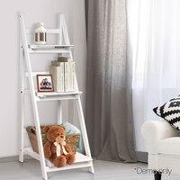 White Artiss Wooden Ladder Storage Display Shelf Multi Function Folding Ladder Indoor Safe Ladder Organizer For Home AU