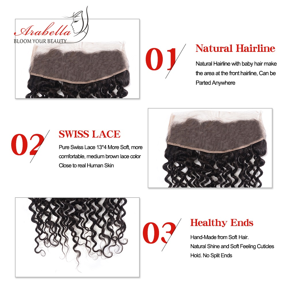 13x4 Water Wave Lace Frontal Ear To Ear Natural Color  Arabella Pre Plucked Bleached Knots Lace Frontal Closure 5