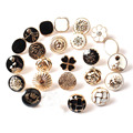 20 шт./лот, 11-12,5 мм, высококачественные круглые пуговицы, черные, золотые, белые металлические пуговицы, мужская и женская рубашка, декоративн...