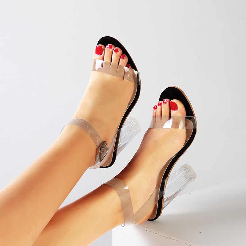 الصيف حجم كبير 43 أحذية النساء واضح صندل كعب عالٍ Fishion مشبك اللمحة تو الصنادل أحذية شفافة Sandalias Mujer 2020
