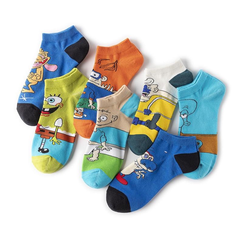 Design Men Sock Men's Standard Socks Cartoon Unisex Colorful Casual Short Sox Adult Cotton Trendy Spring Summer Skarpetki Meskie