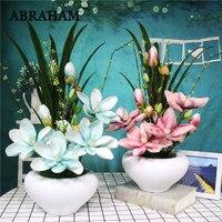 55cm PE Magnolia Bonsai Big Artificial Orchid Flowers Landscape With Ceramic Pot Real Touch Flower Bouquet For Home Party Decor