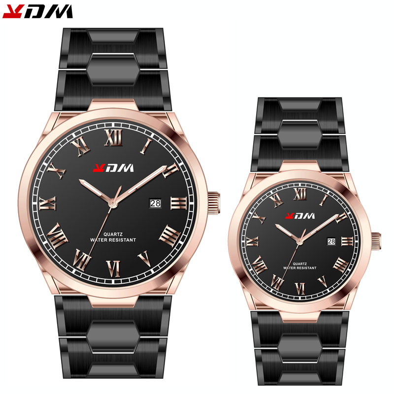 KDM Watch For Couples Simple Elegant Quartz Calendar Full Steel Men Or Women Wristwatches Parejas Regalos Luxury Brand Montre