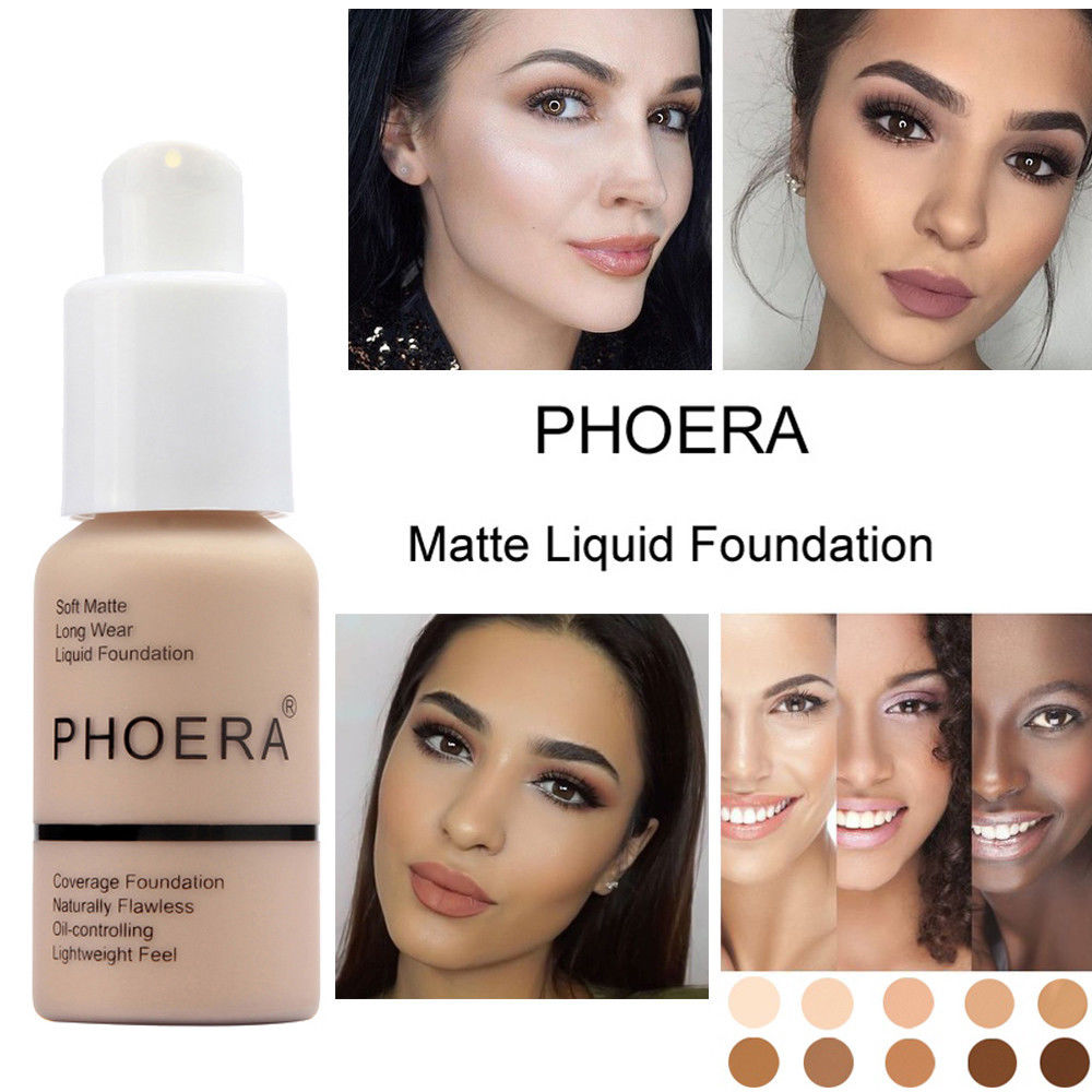 Phoera 30ml Face Foundation Base Makeup Matte Oil Control Concealer Full Coverage Liquid Foundation Cream Cosmetics Maquiagem 2