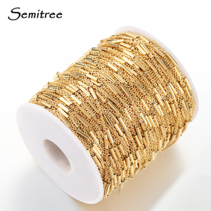 Semitree 2 Meter Stainless Steel Corss Chain Gold Clip Beads Tube Bulk Chains DIY Jewelry Necklace Making Handmade Accessories