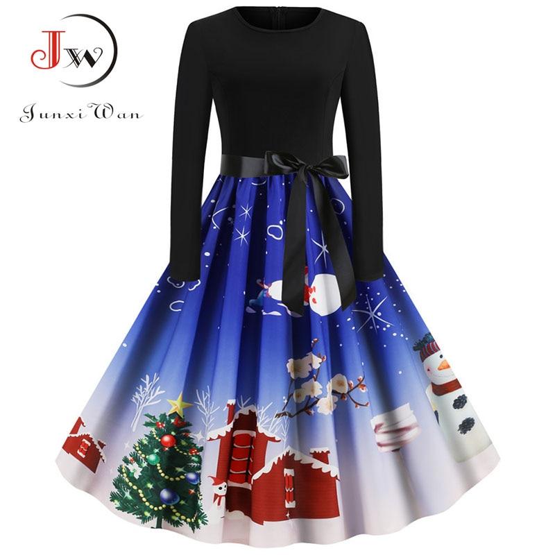 Women Long Sleeve Winter Christmas Dress Casual Elegant Vintage Print Big Swing Holiday Xmas Dress Robe Femme Plus Size Vestidos