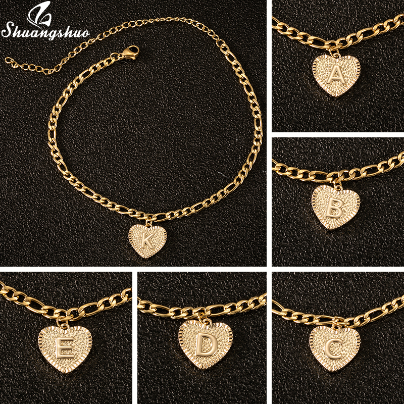26 Alphabet Stainless Steel Love Heart Anklets A-Z Letters Boho Initial Anklet Heart Gold Color Ankle Bracelet Foot Jewelry Gift
