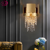 Youlaike Modern Crystal Wall lamp For Bedside Gold LED Wall Sconces Lighting Fixtures Living Room Decor LED Wall crystal Light